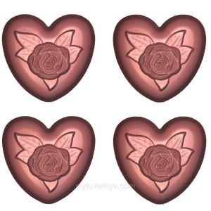 Пластиковая форма «Rose Heart» Сердце Роза 1 форма