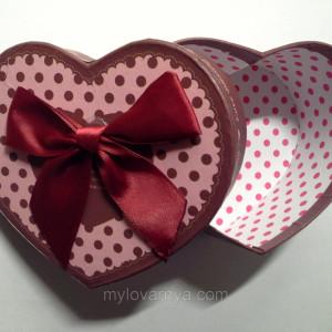 Подарочная коробка Сердце / бордовая