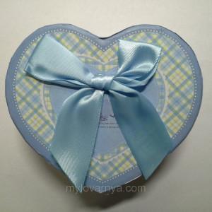 Подарочная коробка Сердце / голубая