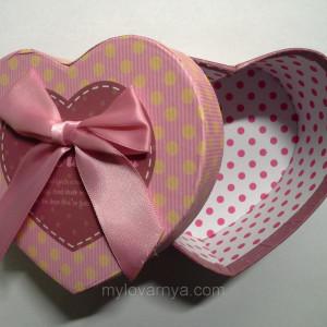 Подарочная коробка Сердце / розовая